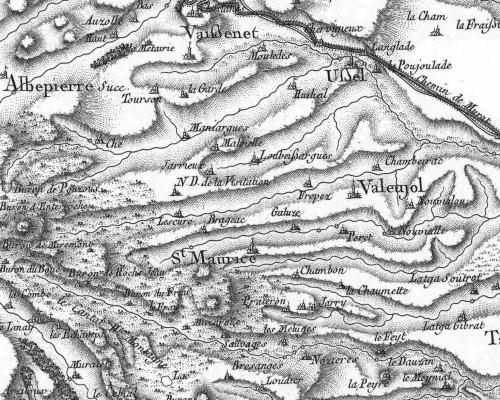 extrait de la carte Cassini (XVIIIè siècle)